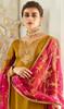 Churidar Suit, Satin Georgette Fabric in Mehendi Color