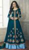 Teal Blue Color Shaded Georgette Lehenga Choli Suit