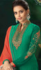 Green Color Embroidered Viscose Brasso Pant Style Suit