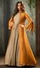 Beige and Mustard Color Silk Georgette Suit