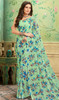 Sea Green Color Shaded Georgette Printed Sari