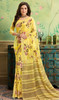 Light Yellow Color Shaded Georgette Printed Sari
