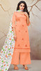 Peach Color Shaded Silk Cotton Palazzo Suit