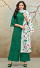 Green Color Embroidered Silk Cotton Palazzo Suit