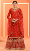 Palazzo Suit in Red Color Embroidered Georgette