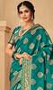 Green Color Jacquard Silk Embroidered Sari
