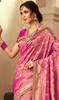 Pink Color Embroidered Jacquard Silk Sari