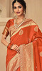 Orange Color Jacquard Silk Embroidered Sari