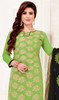 Churidar Kameez in Green Color Banarasi Jacquard