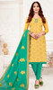 Yellow Color Shaded Banarasi Jacquard Churidar Kameez