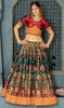 Choli Skirt in Green Color Shaded Banarasi Silk