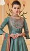 Greenish Blue Color Shaded Silk Anarkali Dress