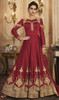 Maroon Color Silk Embroidered Anarkali Dress