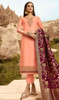 Peach Color Embroidered Satin Georgette Suit