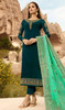 Steel Green Color Shaded Satin Georgette Suit