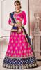 Pink and Blue Color Embroidered Silk Lahenga Choli