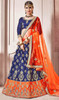 Blue and Orange Color Shaded Silk Lehenga Choli