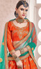 Lehenga Choli in Orange and Green Color Shaded Silk