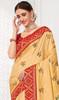 Cream Color Embroidered Silk Sari