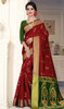 Red and Green Color Cotton Silk Sari