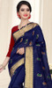 Blue and Red Color Shaded Cotton Silk Sari
