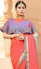 Embroidered Fancy Peach Color Shaded Sari