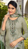 Gray Color Shaded Crepe Pant Style Suit