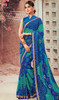Blue and Green Color Shaded Chiffon Sari