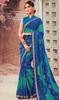 Blue and Green Color Shaded Chiffon Sari
