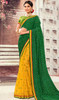 Green and Yellow Color Chiffon Half N Half Sari
