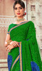 Green and Blue Color Shaded Chiffon Sari