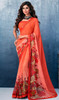 Red Color Shaded Georgette Printed Sari