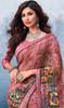 Georgette Pink Color Shaded Printed Sari