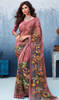 Georgette Pink Color Shaded Printed Sari
