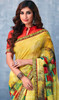 Georgette Printed Sari in Yellow Color Shaded
