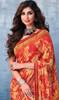 Georgette Orange Color Shaded Printed Sari