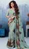 Printed Sari in Green Color Shaded Silk Georgette
