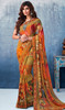 Georgette Printed Sari in Multicolor Shaded