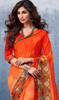 Georgette Printed Orange Color Shaded Sari