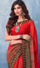 Red Color Shaded Printed Georgette Sari