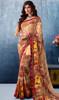 Brown Color Shaded Georgette Printed Sari