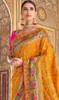 Silk Yellow Color Shaded Printed Sari