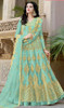 Anarkali Suit in Sea Green Color Shaded Net