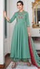 Anarkali Suit in Sea Green Color Shaded Maslin