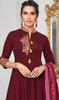 Maroon Color Embroidered Maslin Anarkali Suit