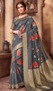 Silk Gray Color Shaded Printed Sari