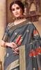 Silk Gray Color Shaded Printed Sari