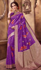 Violet Color Shaded Silk Printed Sari