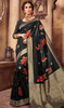 Silk Printed Sari in Black Color Shaded