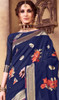 Sari in Navy Blue Color Shaded Silk Printed